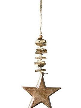 Mango Wood Star w/ Stacked Twigs