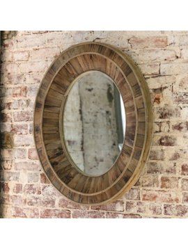 Primitive Wooden Oval Mirror 28x32