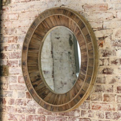 Primitive Wooden Oval Mirror 28x32