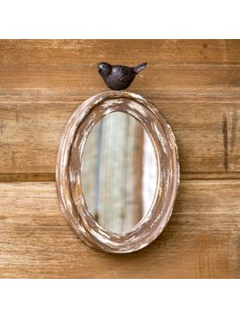 Wood Oval Mirror w/ Songbird