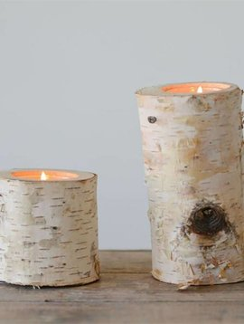 Birch Wood Log Tea Light Holder