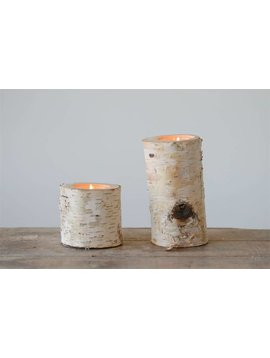 Birch Wood Log Tea Light Holder