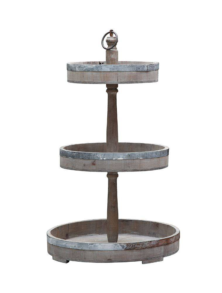 Decorative Wood & Metal Three Tier Tray