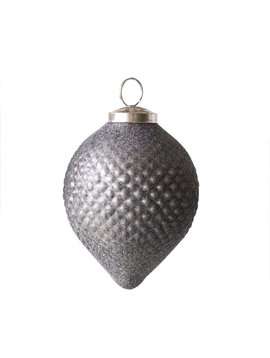 Glass Ornament Flocked Grey