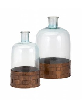 TY Cowboy Glass and Metal Jugs