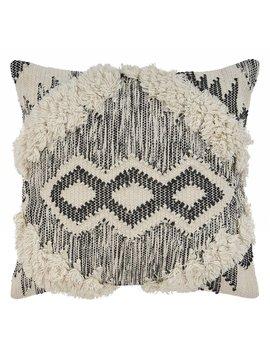 Black and White Pillow with 3 Cris Cross Diamonds 20x20