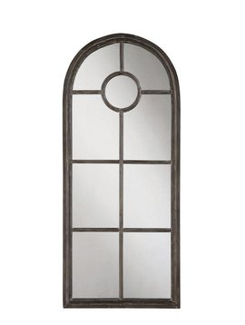 Metal Framed Mirror, Distressed Black