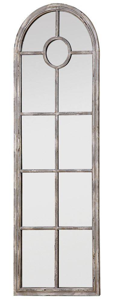 Tall Metal Framed Mirror w/ Distressed White Finish