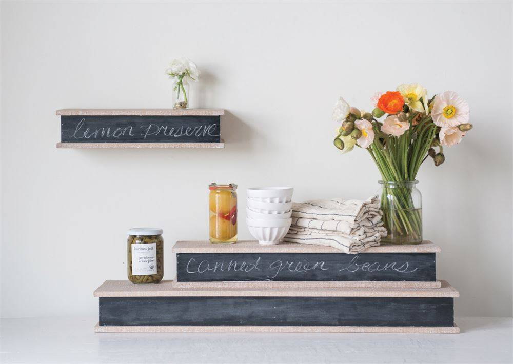 Wood Wall Shelf w/ Chalk Board Face