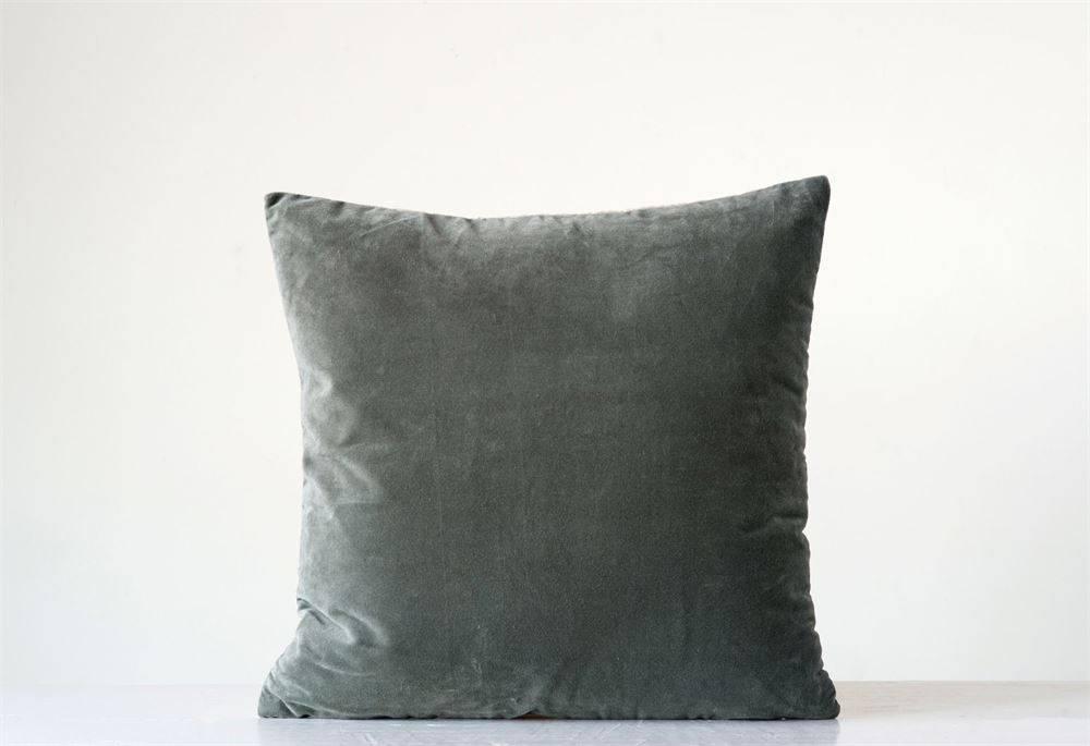Square Cotton/Velvet Pillow Grey