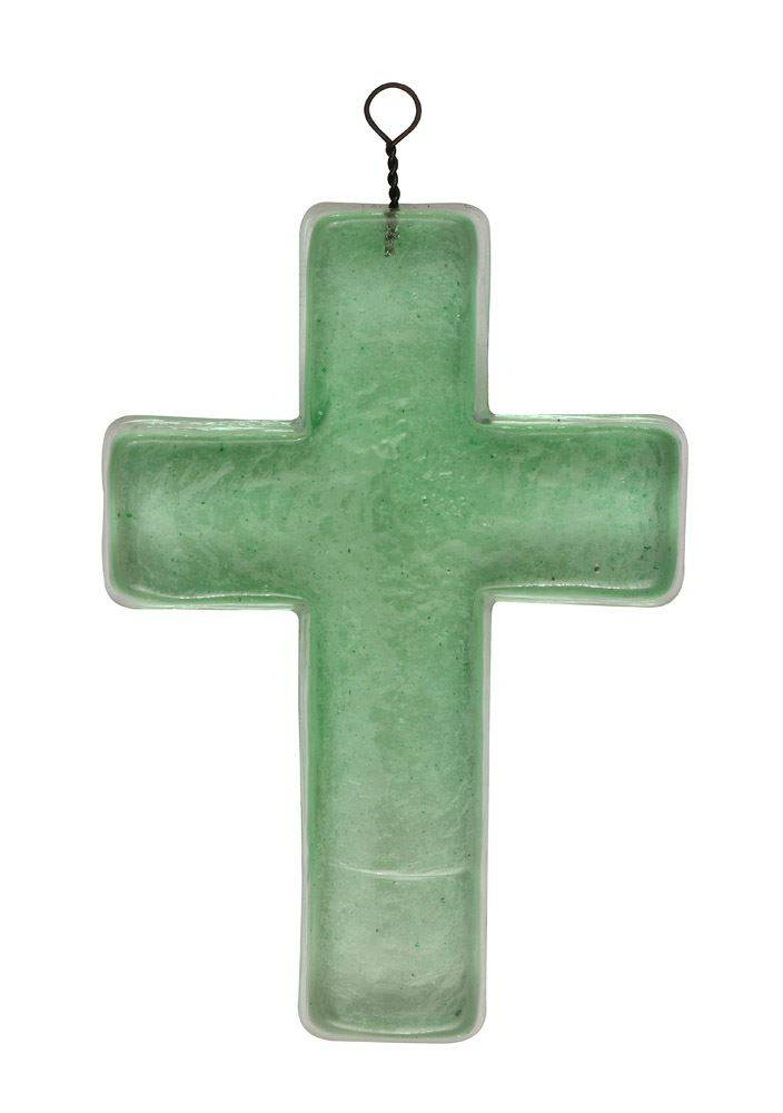 Recycled Glass Hanging Cross