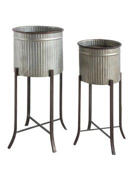 Corrugated Metal Planters w/ Stand