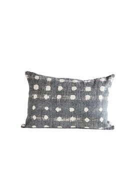 Charcoal Cotton Stub Polka dot Pillow