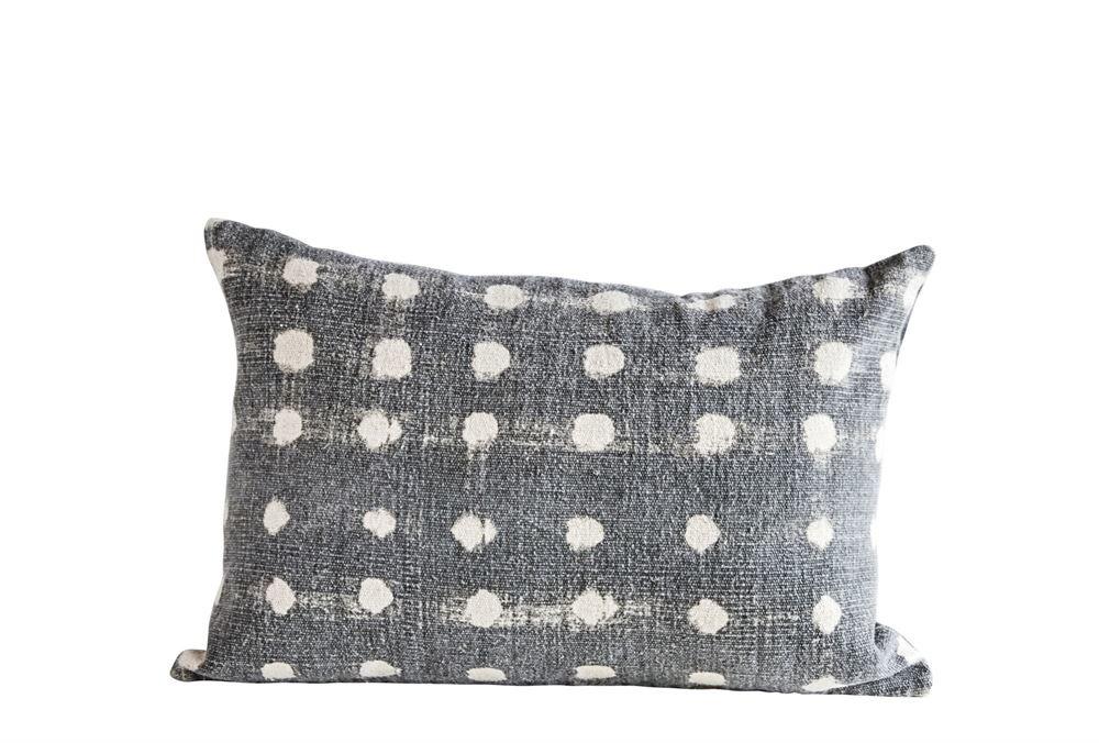 Charcoal Cotton Stub Polka dot Pillow