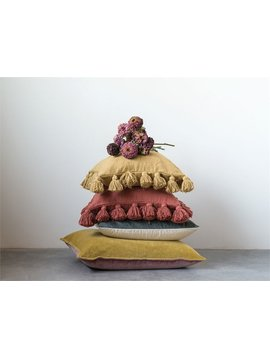 Cotton Woven Pillow (Mustard)