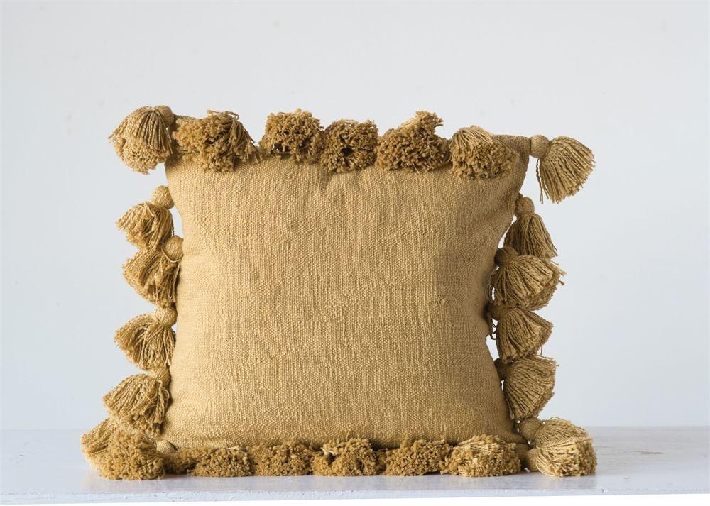 Cotton Woven Pillow (Mustard)