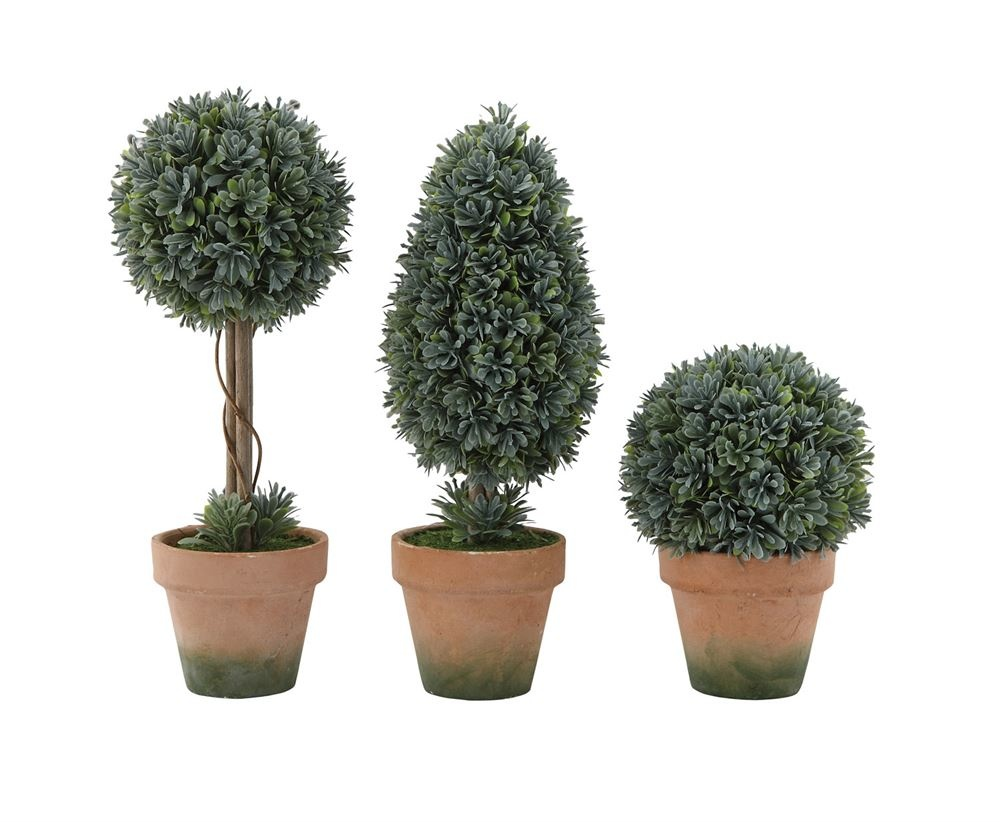 Faux Boxwood Topiary In Clay Pot