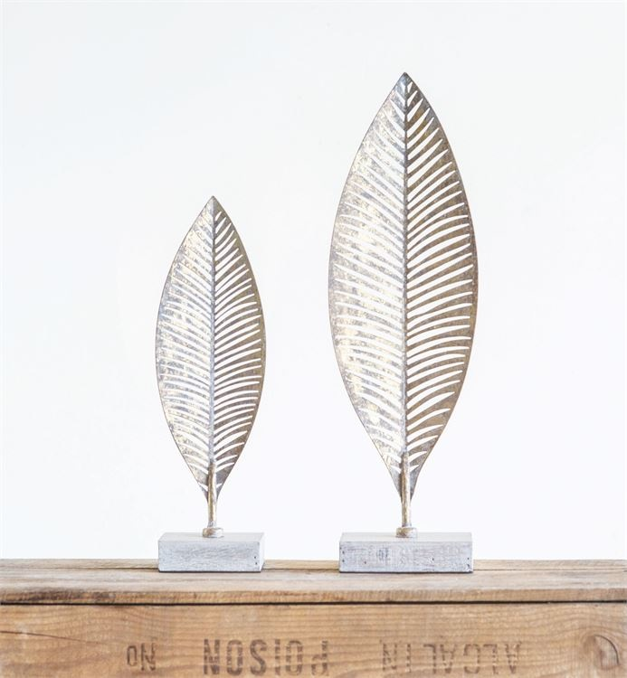 Metal Leaf with Wood Base
