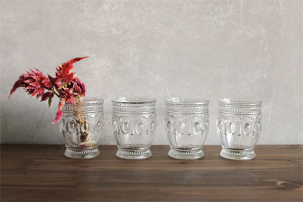 8oz Embossed Drinking Glass