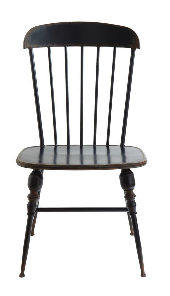 Metal Farmhouse Chair Distressed Navy Blue