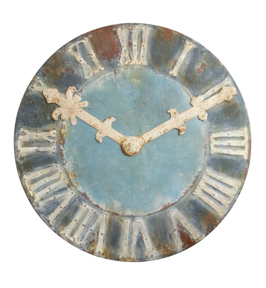 Decorative Distressed Metal Clock