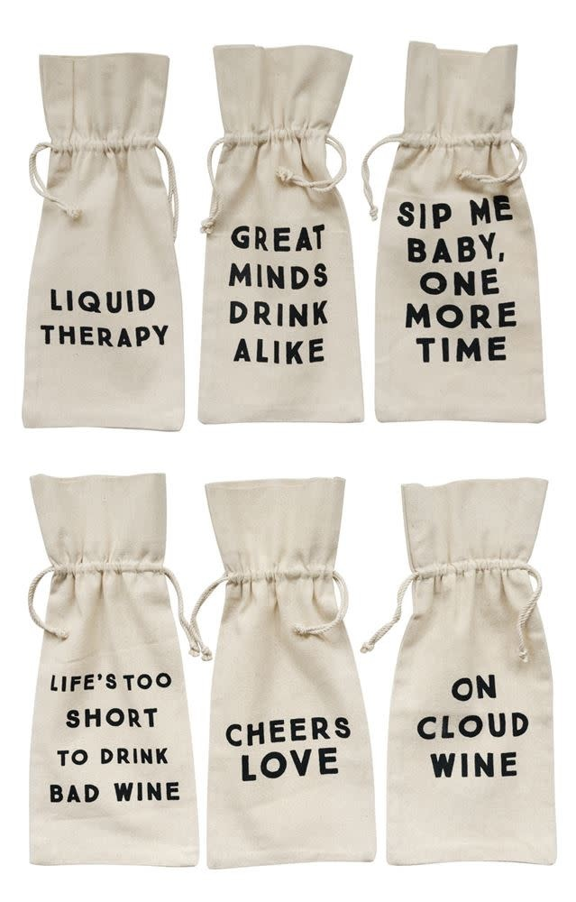 Assorted Wine Bags With Saying