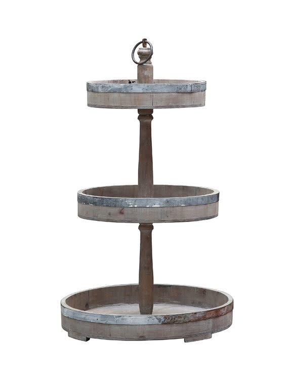Decorative Wood & Metal Three Tier Tray