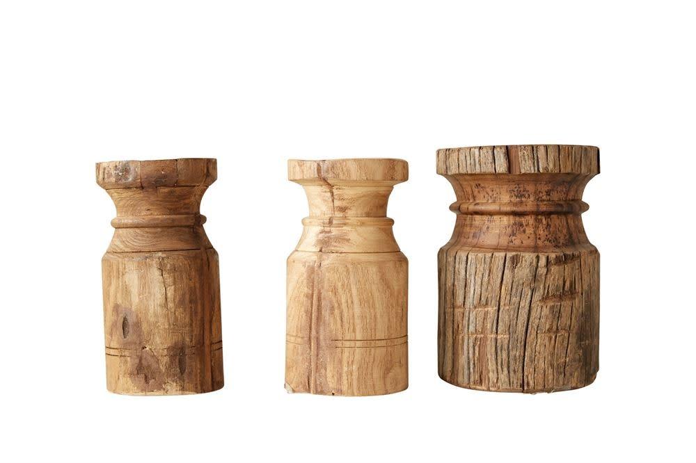 Wood Carved Candle Holder