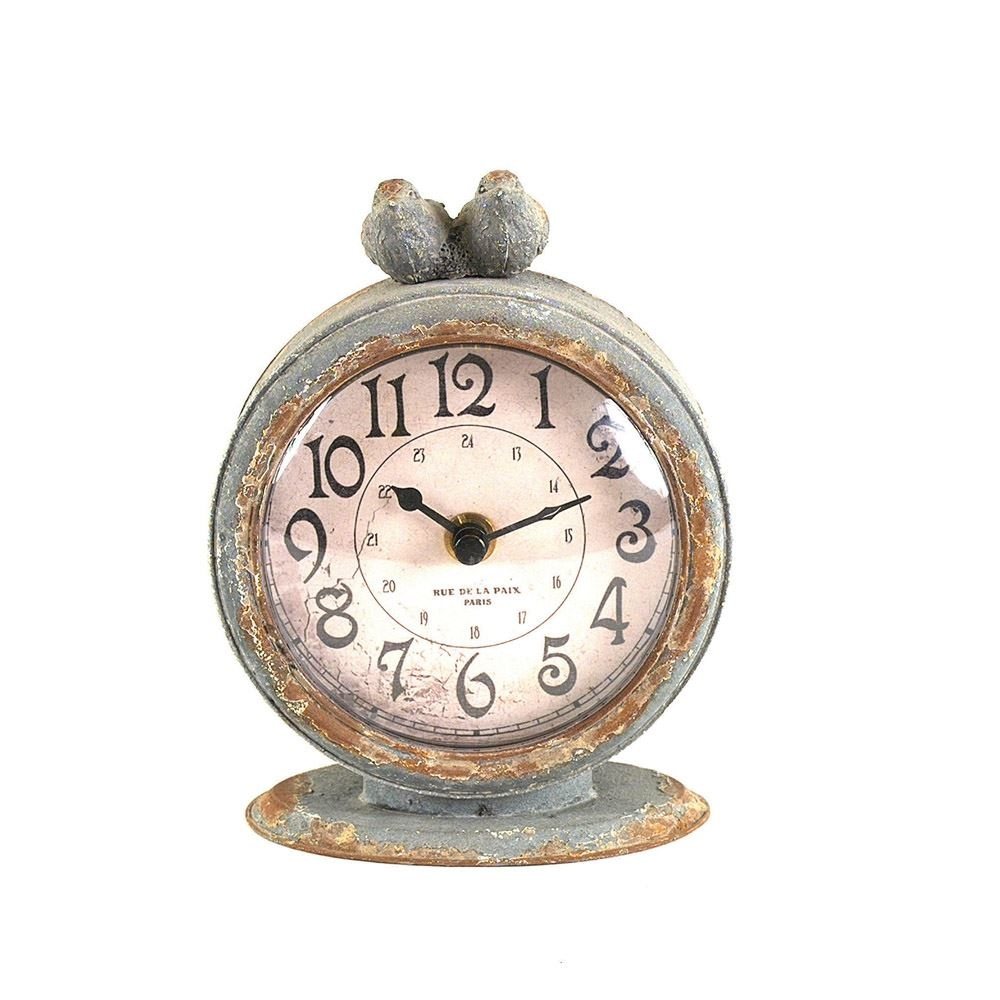 Pewter Mantel Clock w/ Bird - Grey