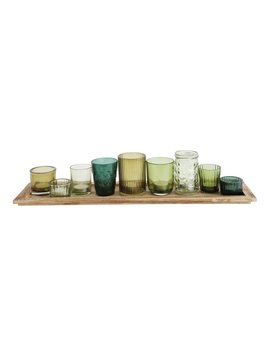 Wood Tray W/ 9 Glass Votive Holders