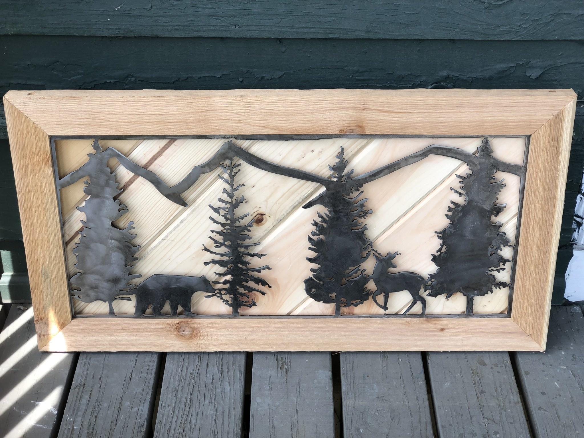 "Pines, Bear and Deer 33""x17"""