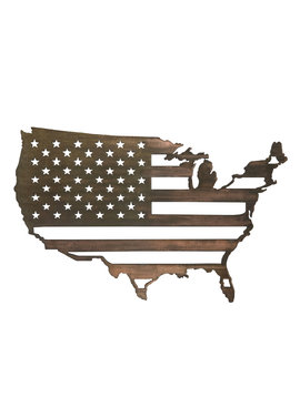 United States W/ Flag Inside - Large 36x23
