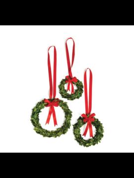 Boxwood Wreath W/ Red Ribbon