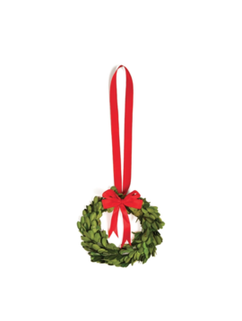 Boxwood Wreath W/ Red Ribbon 6.5""