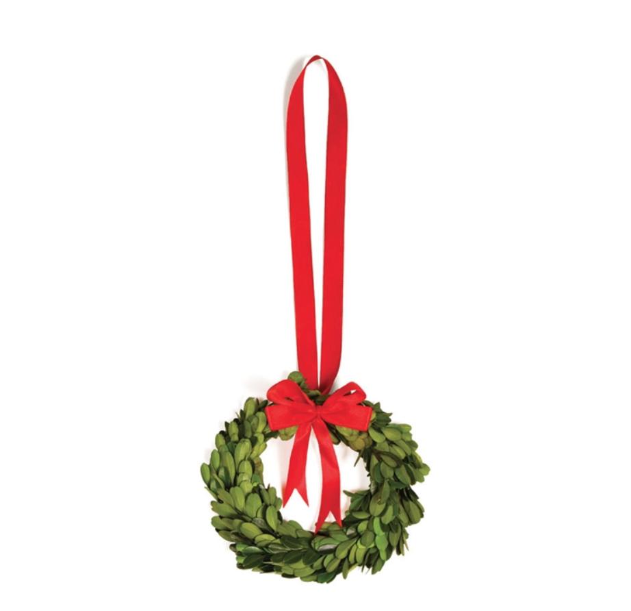 "Boxwood Wreath W/ Red Ribbon 6.5"""
