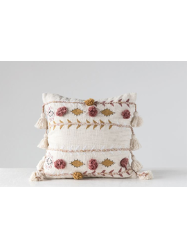 """20"""" Square Cotton Embroidered Pillow w/ Tassels & Applique"""