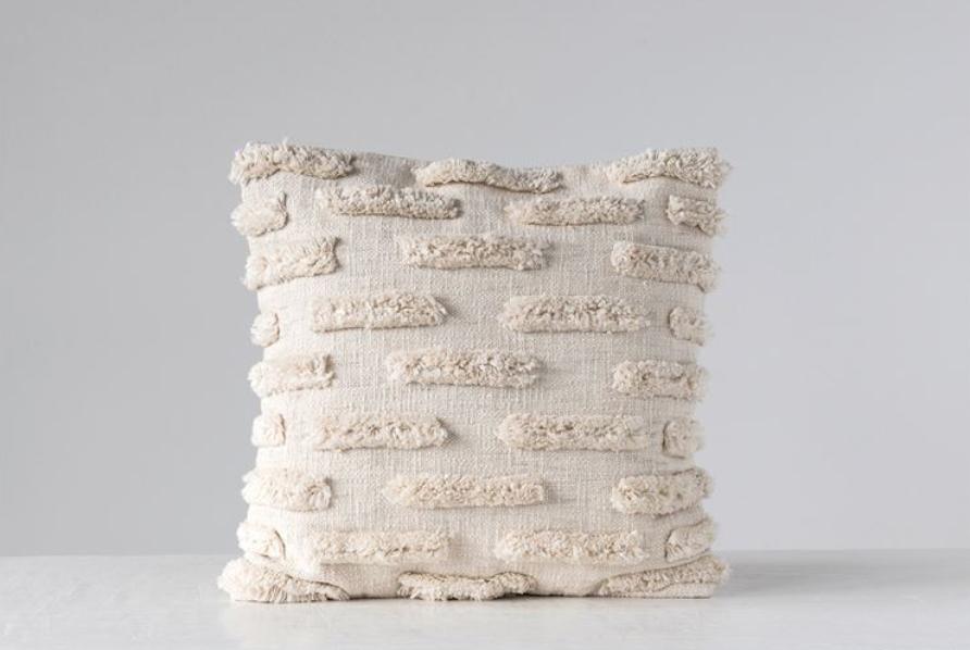 "20"" Square Woven Cotton Pillow w/ Fringe, Natural"