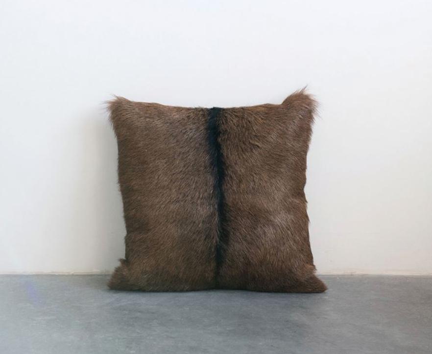 Goat Fur Pillow, Brown