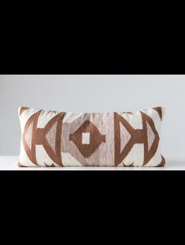 Hand-Woven Cotton Kilim Lumbar Pillow