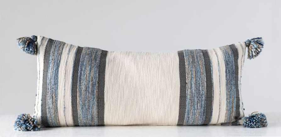 Woven Cotton & Wool Striped Lumbar Pillow w/ Tassels, Blue, Grey & Cream Color
