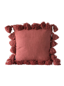 "18"" Square Cotton Woven Slub Pillow w/ Tassels, Russet Color"