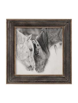 "Uttermost UM Black and White Horses Distressed Frame 32""x32""x2"""