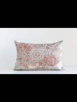 Cotton Distressed Print Lumbar Pillow Multi Color