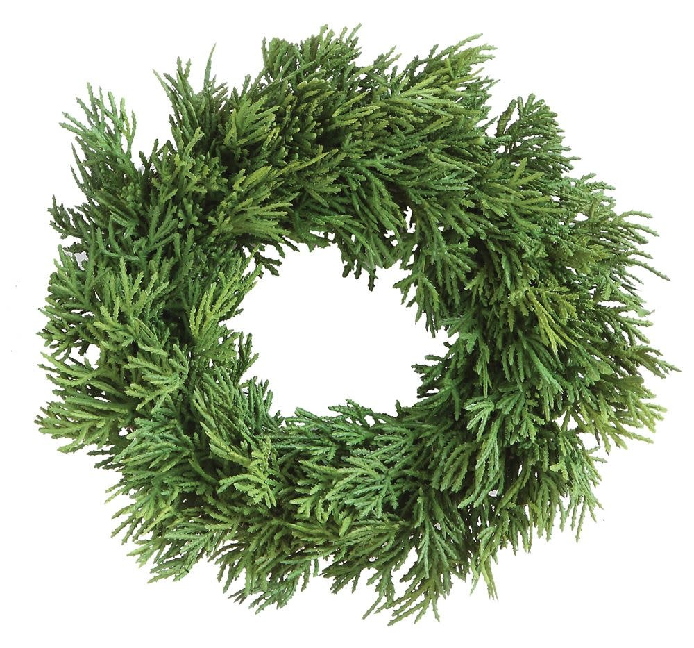 "10"" Round Faux Cedar Wreath"