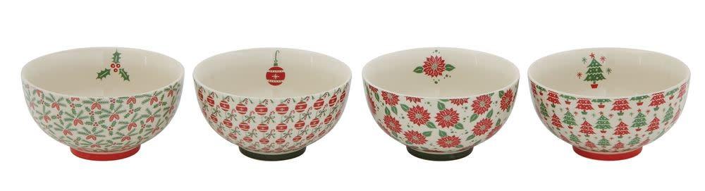 "6"" Round Stoneware Bowl w/ Pattern"