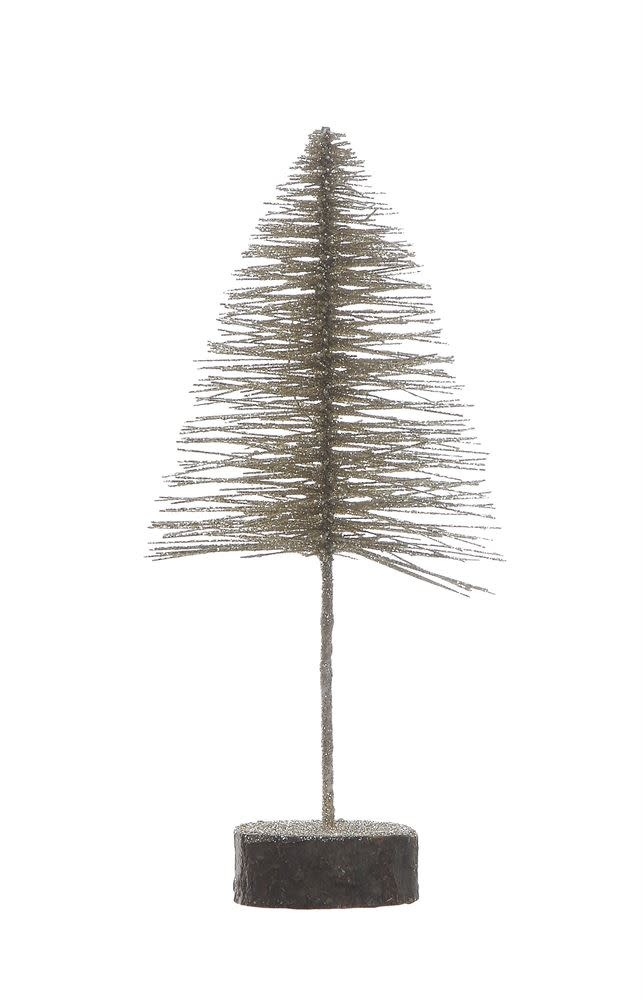 "11-3/4""H Bottle Brush Tree on Wood Base"