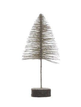 """11-3/4""""H Bottle Brush Tree on Wood Base"""