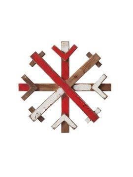 Round Wood Snowflake Wall Decor