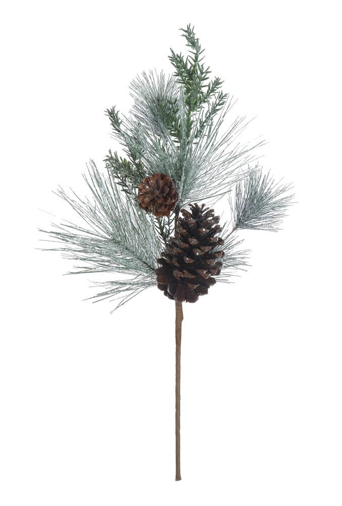 "24""H Faux Pine Spray w/ Pinecones, Snow Finish"