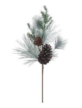 "24""H Faux Pine Spray w/ Pinecones, Snow Finish"